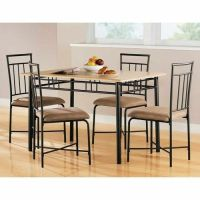 5 Piece Dining Set Wood Metal 4 Chairs and Kitchen Table ...