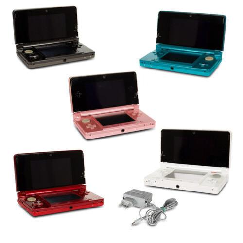 Nintendo 3DS Konsole Aqua blau coral pink kosmos schwarz metallic rot + Kabel