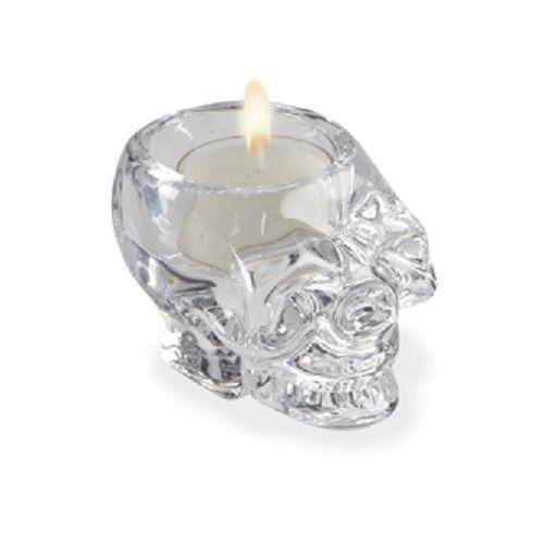 Glass Skull Candle Holder