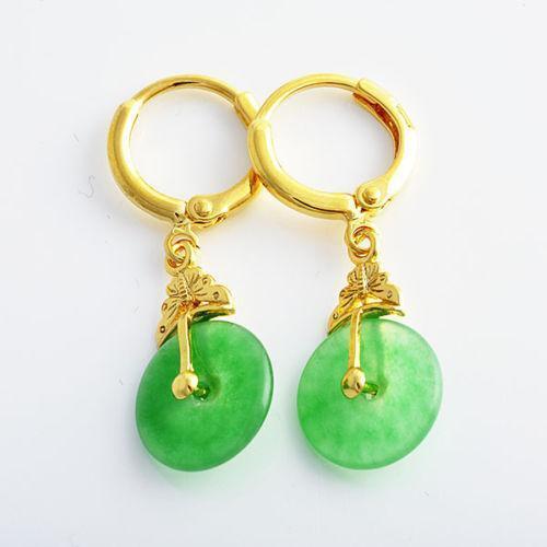 Green Jade Dangle Earrings
