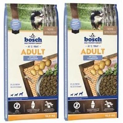 2x15kg= 30 kg Bosch Adult Fisch & Kartoffel Hundefutter für normale Aktivität