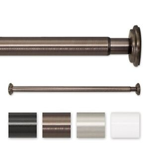52 to 90-inch Adjustable Spring Tension or Screw Mount Curtain Rod