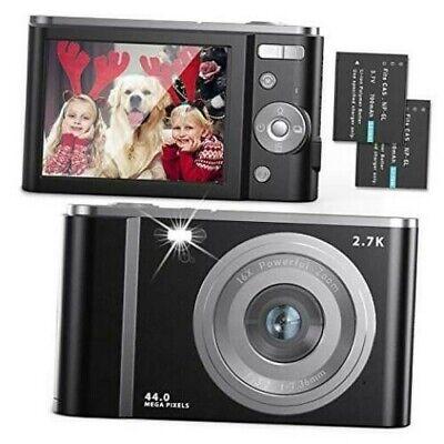 Digital Camera 2.7K Ultra HD 44MP Vlogging Camera with 16X Digital Zoom, Black