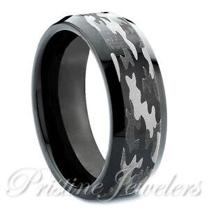Tungsten Carbide Mens Camouflage Ring Black Silver Camo