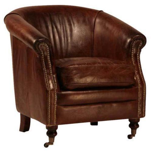 Distressed Leather Club Chair eBay