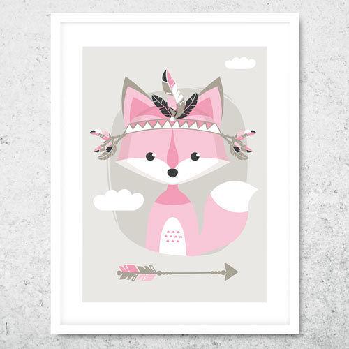 Bild Kunstdruck A4 Tribal Fuchs rosa Kinderzimmer Deko Geschenk