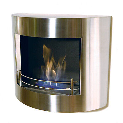 THE NAKED FLAME ELE 01 SS BRUSHED STAINLESS STEEL WALL MOUNTED BIO ETHANOL FIRE