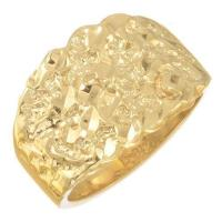 Mens 14k Solid Gold Nugget Ring