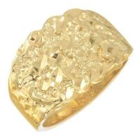 Mens 14k Solid Gold Nugget Ring | eBay