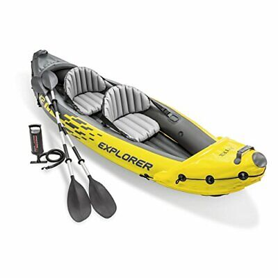 Intex Explorer K2 Kayak 2-Person Inflatable Set with Oars and Air Pump, Yellow