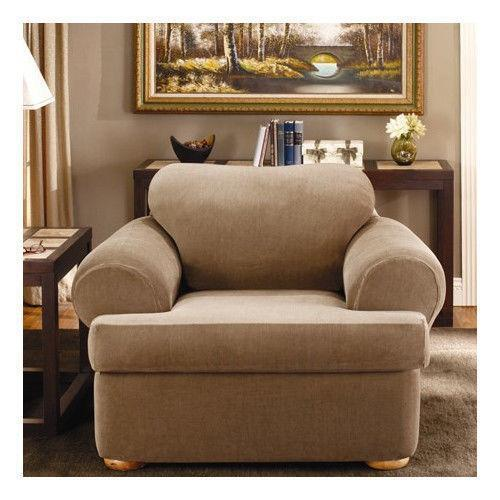 stretch 3 piece t cushion sofa slipcover dark brown leather and what color walls chair | ebay