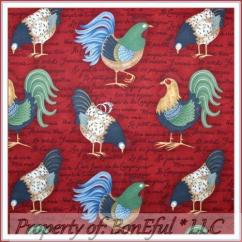 Waverly Kitchen Curtains Island Chairs French Country Rooster Fabric | Ebay