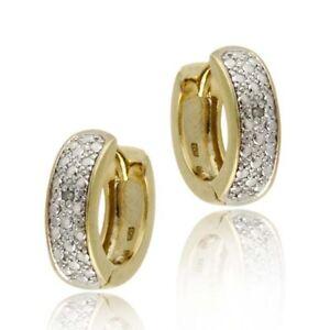 18k Gold on Silver Diamond Accent Huggie Hoop Earrings