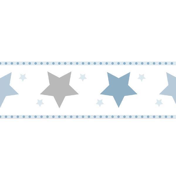 Tapetenbordüre Borte Sterne Rasch Textil Bimbaloo weiß blau 330495 (16,38€/1qm)
