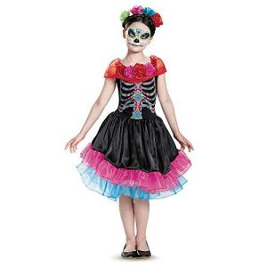 Girls Day of the Dead Costume Dia De Los Muertos Mexican Remembrance Kids Child