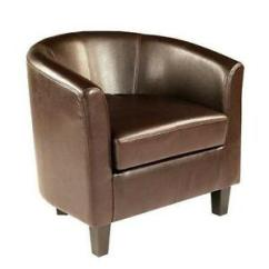 Leather Tub Chair Markwort Stadium Chairs Ebay Brown