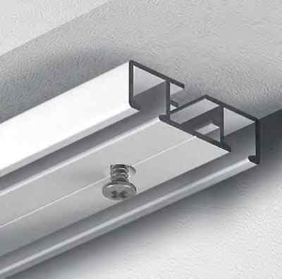 GARDINEUM Flächenvorhangschiene 2-lfg. Gardinen Schiene Schiebe vorgebohrt weiß