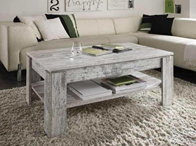 Vintage Rustic Coffee Table Shabby Chic Grey White Wooden