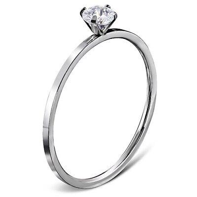 Verlobungsring Zirkonia Stein Damen-Ring Solitär-Ring Edelstahl Autiga®