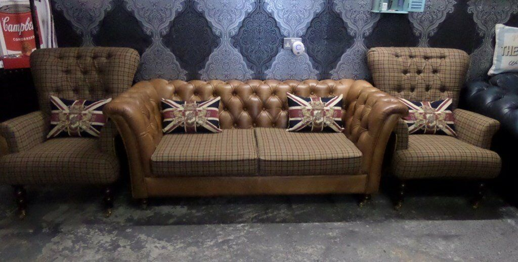 tartan chesterfield sofa upholstery repair nj 3 seater 2 wing back chairs low tan from fenwick possible delivery
