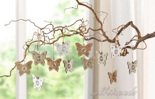 Hänger Schmetterling 12er Set Holz Hängedeko Fensterdeko Dekoration Landhausstil