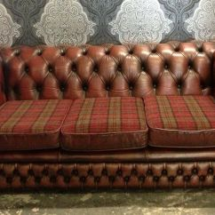 Tartan Chesterfield Sofa Slimline Table Stunning Vintage 3 Seater In Oxblood Red Leather With Delivery