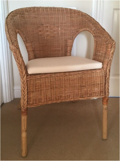 2 x Ikea Agen Rattan and Bamboo chairs with seat pads