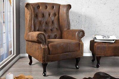 CHESTERFIELD Ohrensessel braun antik look Design Vintage England  NEU