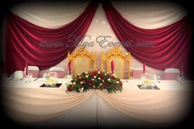 chair covers hire in wolverhampton green bay packers wedding lycra with coloured sash for fitted cheap cover 79p table cloth rental black linen 9 candelabra mirror