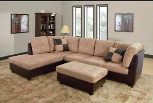 sofa modulaire neuf reversible cuir ou en tissu en liquidation