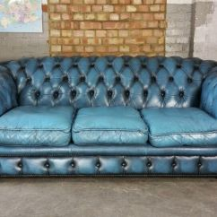 Sofas On Gumtree Leather Indian Sofa Set Vintage Chesterfield Blue Buttonback Couch ...