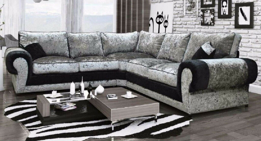 corner sofas glasgow gumtree leather sofa furniture stores nyc tango in crushed velvet black silver 1 year warranty uk express delivery