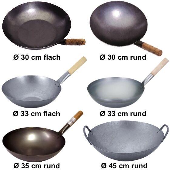 Wok Pfanne Ø 30 cm - 45 cm China Gastronomie runder Boden Gasherd FREIE AUSWAHL