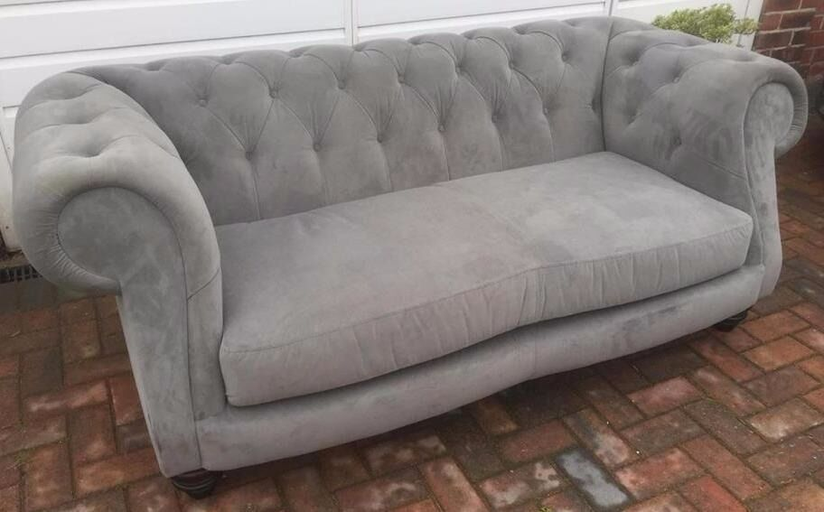 chesterfield style fabric sofa ready made cushion covers scarlet 3 seater modern grey velour ex display rrp 899