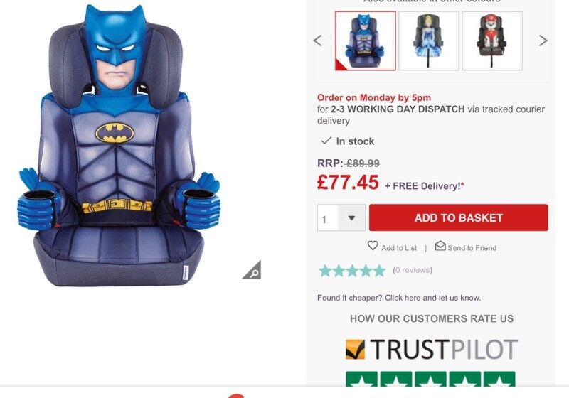 batman car chair colorful chaise lounge chairs seat in padgate cheshire gumtree