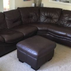 Chocolate Brown Leather Sectional Sofa With 2 Storage Ottomans Lazy Boy Collins Reviews Corner Group 5 Seat Plus Chaise Steater