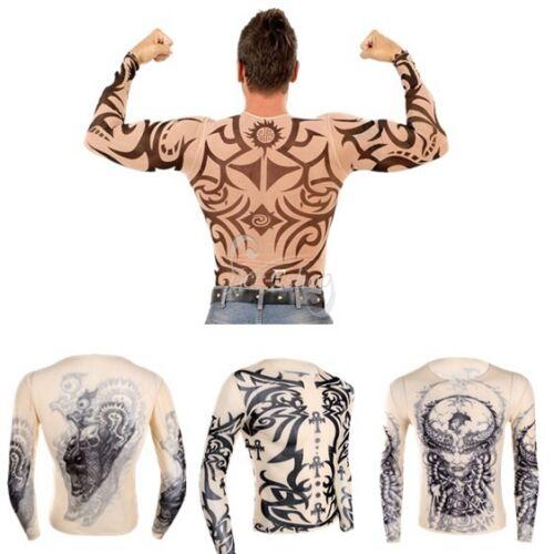 Männer Tattoo-Shirt transparent Herren Langarmshirt Slim Fit Tattoos Unterhemd