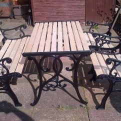 Cast Iron Table And Chairs Gumtree Office Chair Png Lovely Antique Newly Refurbished Solid Garden Set | In Northampton ...