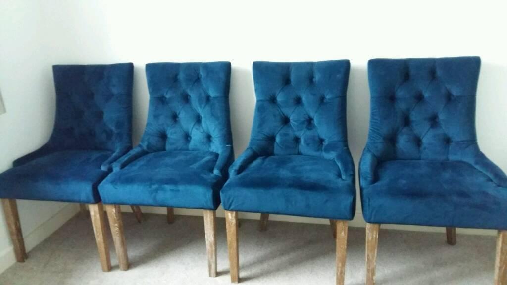 blue velvet living room chairs elle decor beautiful rooms 4 dining in braintree essex gumtree