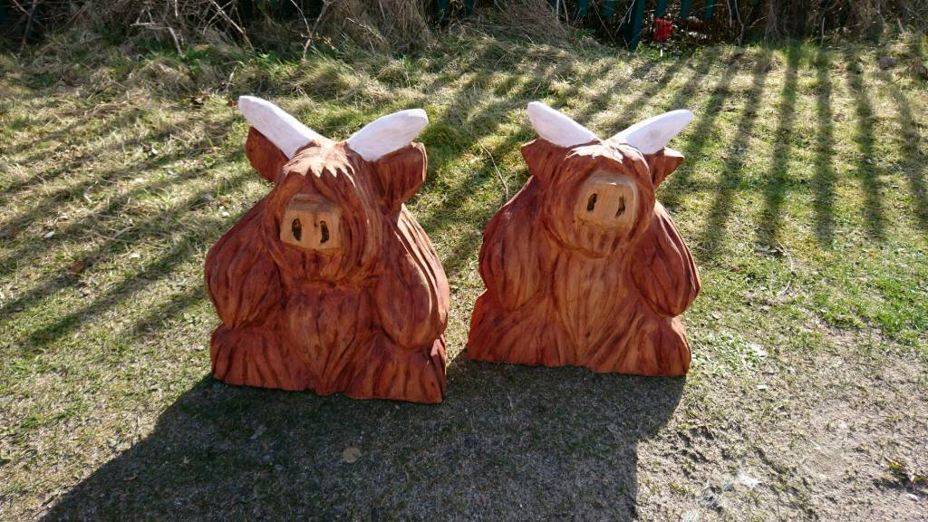 cast iron table and chairs gumtree yellow leather office chair chainsaw carved highland cows | in banff, aberdeenshire