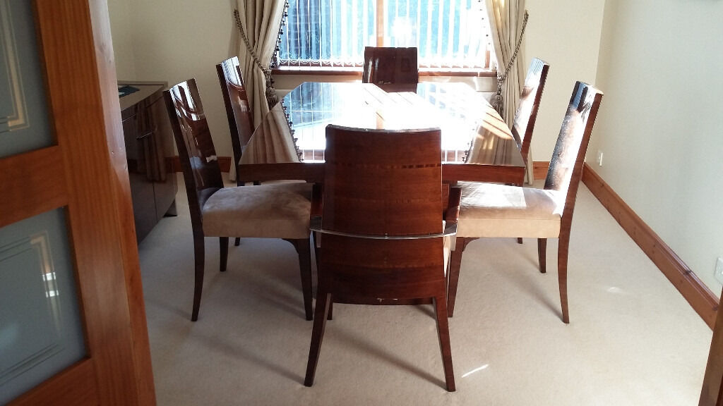 dining chair covers for christmas staple office chairs beautiful mark webster 'rimini' high gloss walnut table and 6 | in dromore, county ...