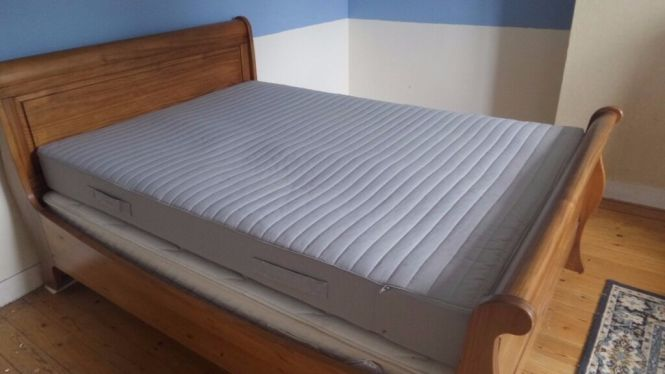 Ikea Sultan Huglo Double Bed Mattress In Grey Firm Sprung And Foam Washable Cover