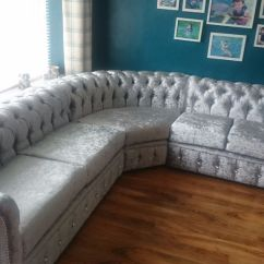 50 Inch Sofas Lexington Leather Crushed Silver Velvet Chesterfield Corner Sofa | In Mill ...
