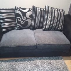 Leather And Chenille Sofa Retro 2 X 3 Seater Faux Fabric Farrow Sofas With Scatter Cushions Bargain Price