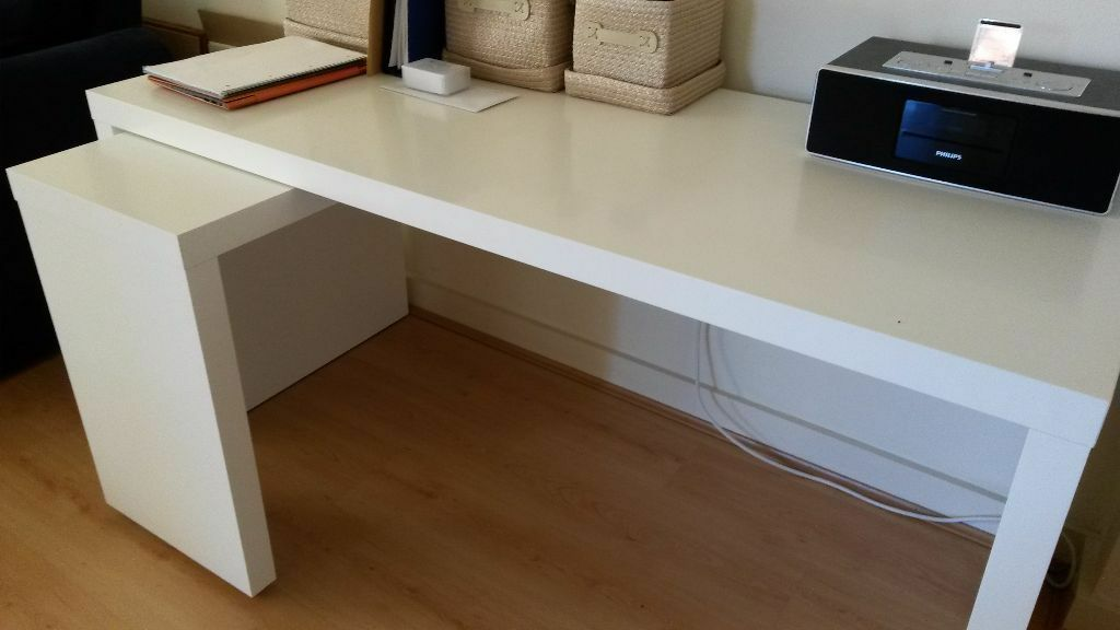 White MALM desk with pullout panel from IKEA need to