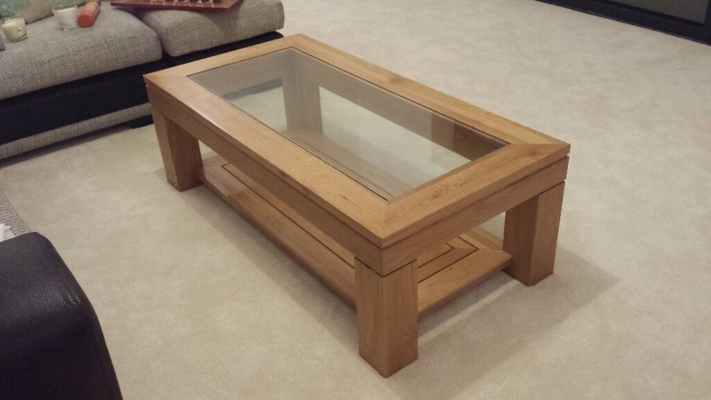 Solid Oak Coffee Table With Matching Smaller Table Glass