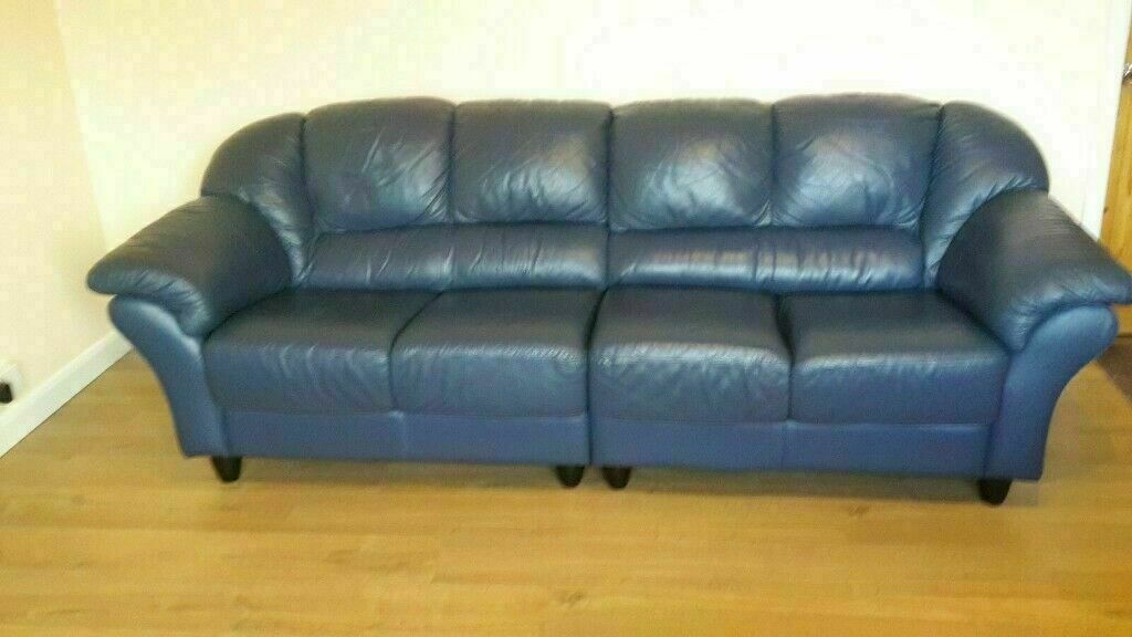 courts sofa wicker indoor furniture stylish blue leather 4 seater armchair must go today cheap delivery 275