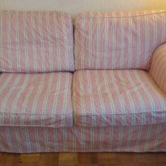 Ex Display Sofa Bed Uk Armrest Tray Ikea Ektorp 2 Seat Covers In Mobacka Beige/red Stripe ...