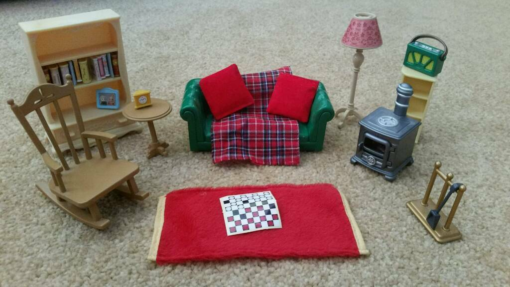 cosy living room with log burner top green paint colors for sylvanian families very rare light up rocking chair