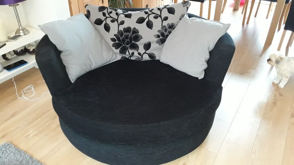 black 3 seater sofa and cuddle chair dimensions of 2 large in with cushions good clean condition